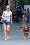 Amanda Seyfried spotted walking and playing with her dog Finn in New York City